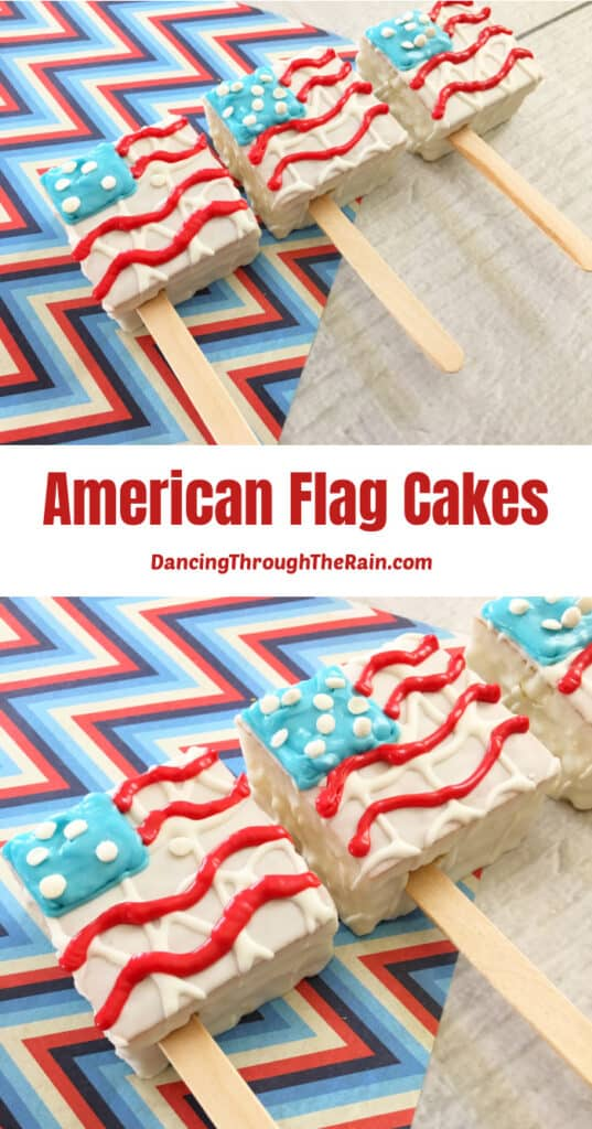 Two pictures of American Flag Cakes on a red white and blue zig zag placemat