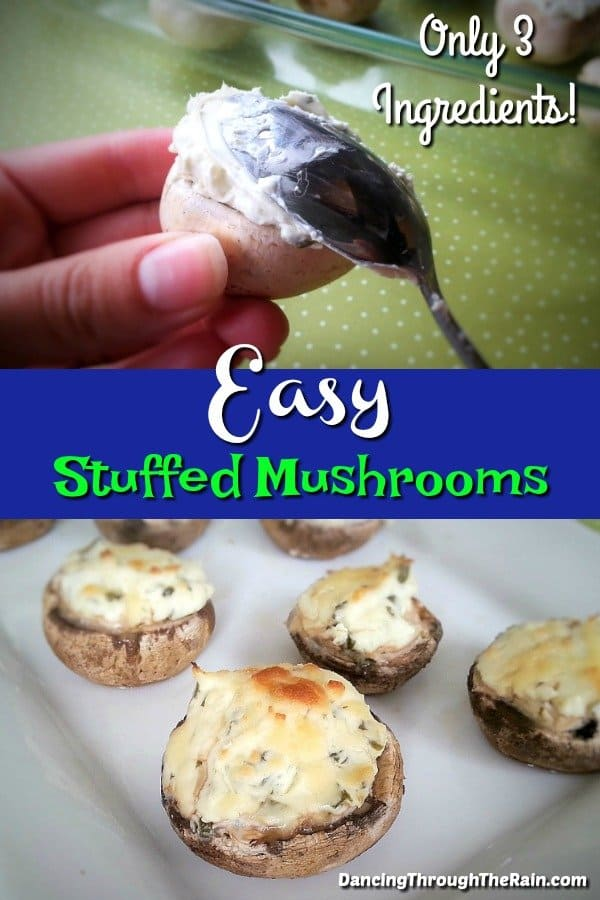 One photo of a spoon putting chive cream cheese into a mushroom and another of easy stuffed mushrooms on a white plate