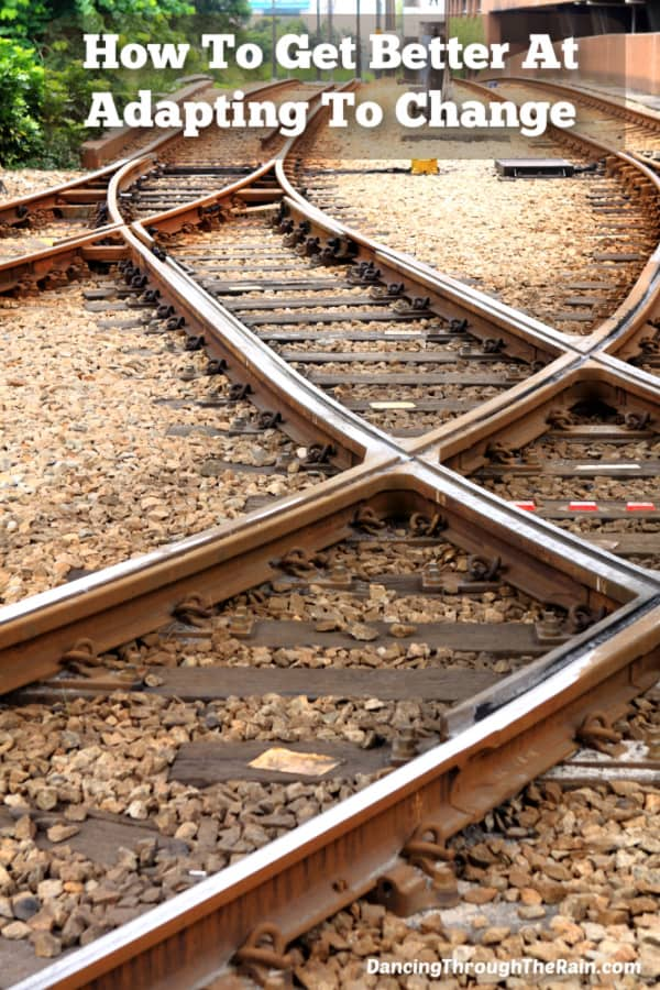 Railway tracks that are crossing over each other with the words How To Get Better At Adapting To Change