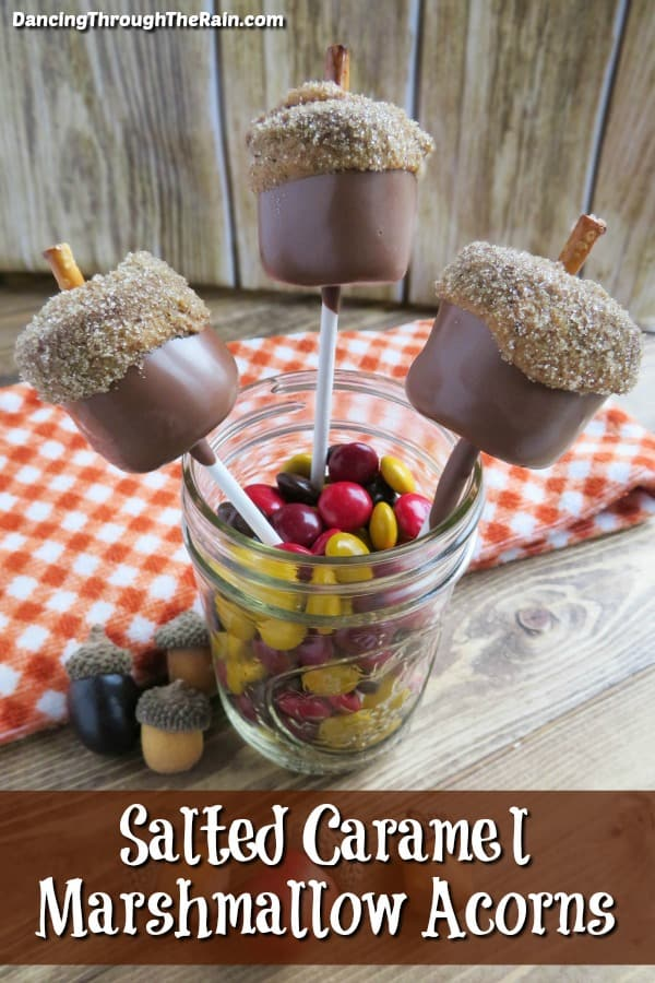 Three Salted Caramel Marshmallow Acorns in a jar with red, yellow and brown M&M's