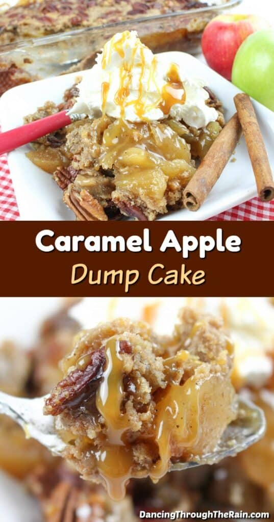 One picture of Caramel Apple Dump Cake on a white square plate with whipped cream and extra caramel on top next to a red handled metal fork and another picture of a closeup of some cake on a spoon with caramel dripping off