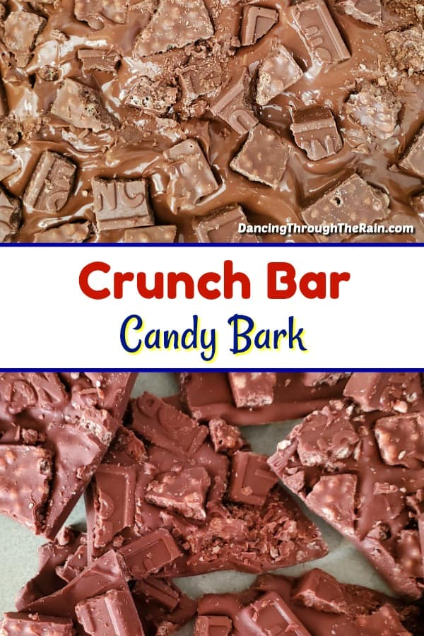 Two pictures of Crunch Bar Candy Bark