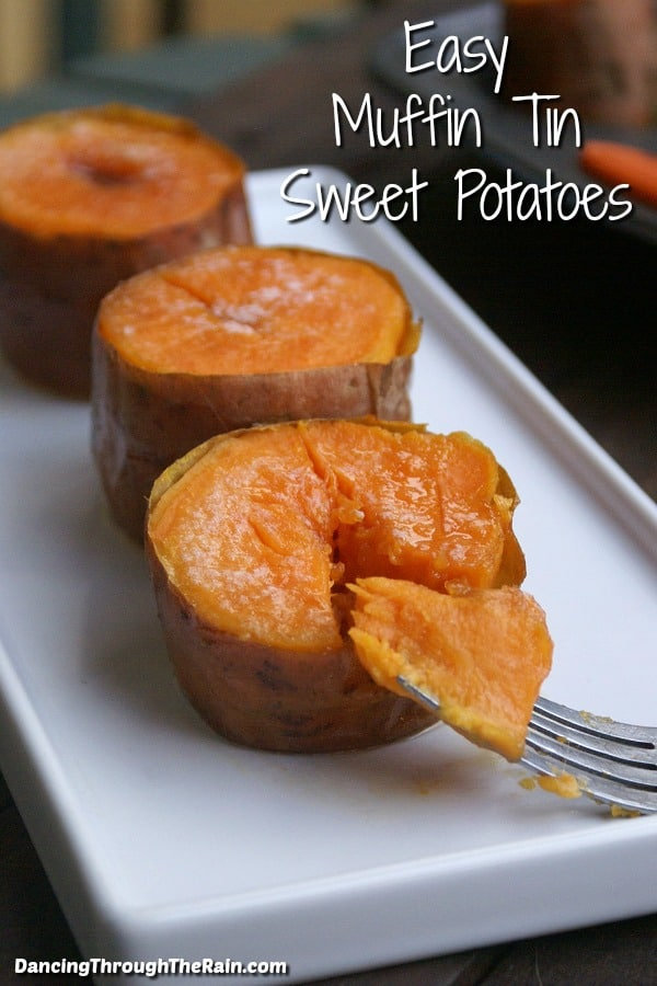 Three Easy Muffin Tin Sweet Potatoes on a square white plate with a fork full of sweet potatoes