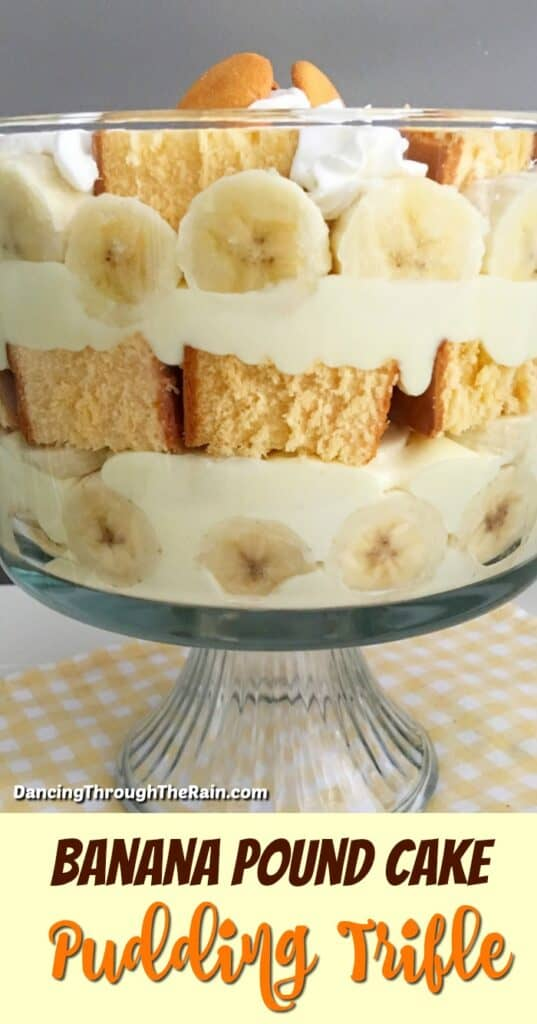 Banana Pound Cake Pudding Trifle in a trifle dish on yellow and white checkered placemat
