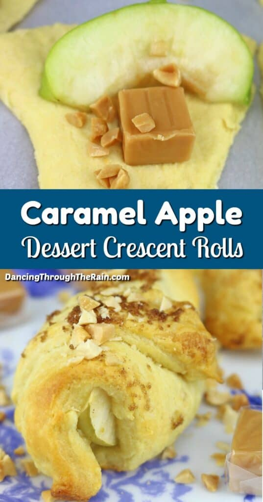 One picture of Caramel Apple Crescent Rolls being put together and another of one baked with nuts on top