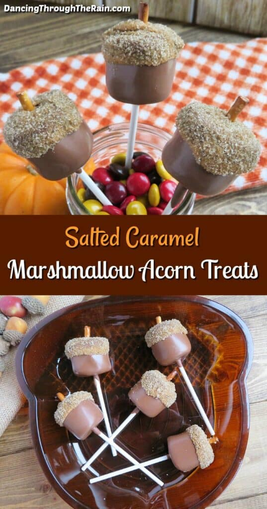 Two pictures of Salted Caramel Marshmallow Acorn Treats in front of a red and white checkered napkin and others in a brown acorn shaped dish