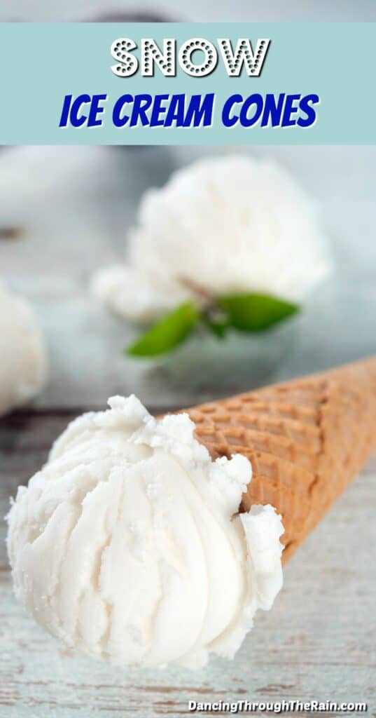 Snow Ice Cream Cone on a light blue wooden table