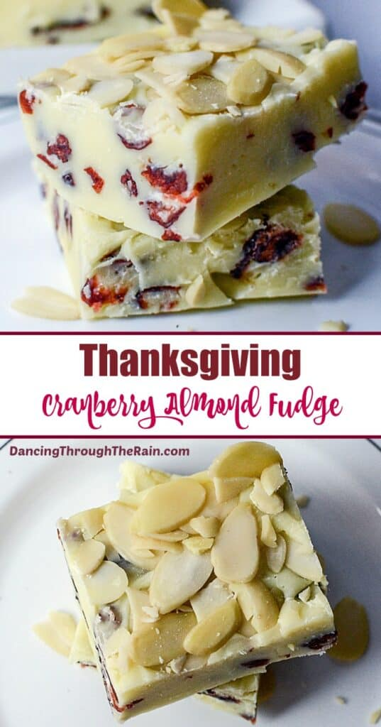 Two pictures of Thanksgiving Cranberry Almond Fudge on a white plate