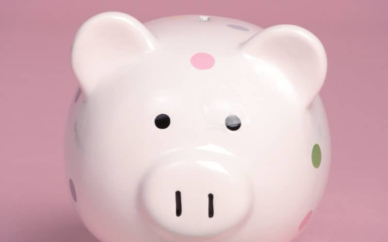 A pink piggy bank surrounded by dollar bills with a pink background