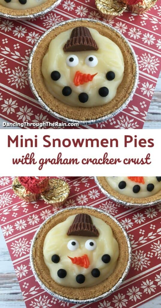 Two pictures of Mini Snowmen Pies on a red winter themed placemat