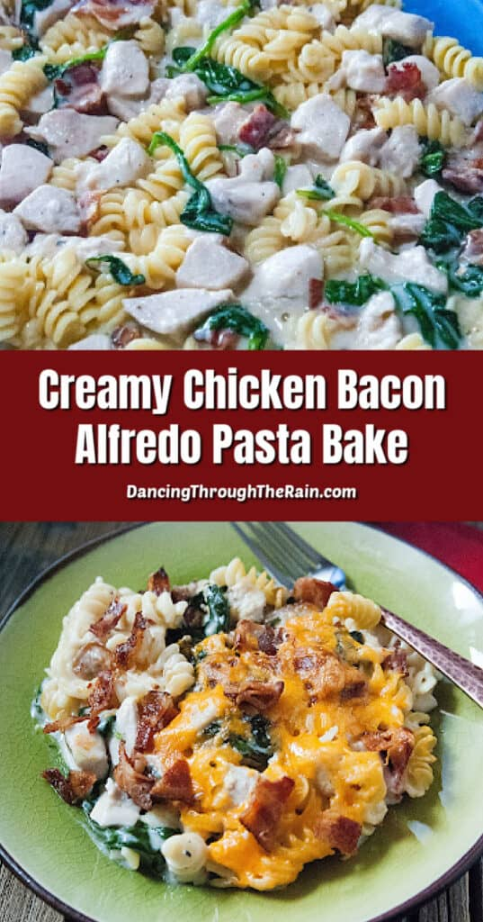 A picture of Creamy Chicken Bacon Alfredo Pasta Bake in the blue baking dish ready to bake and another of a scoop on a green plate with a metal fork